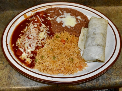 Burrito and Enchilada Combination at El Rosal, Mexican Restaurant in Patterson, CA