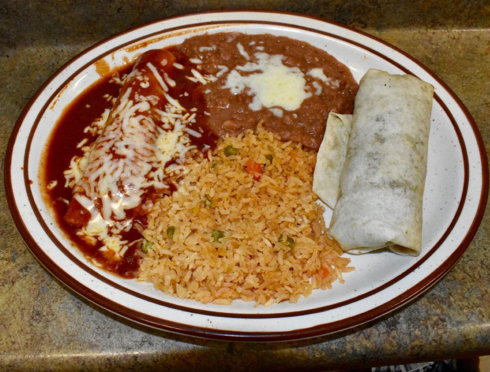 Burrito and Enchilada Combination at El Rosal, Mexican Restaurant in Patterson, CA