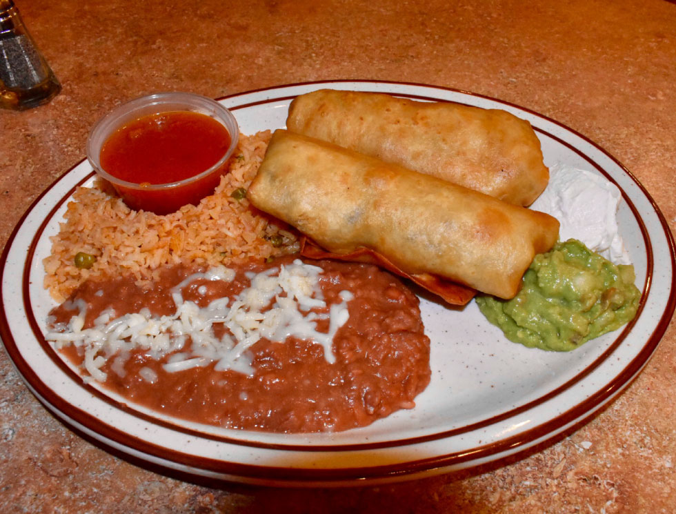 Chimichangas at El Rosal, Mexican Restaurant in Patterson, CA