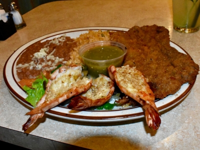 Milanesa and Garlic Shrimp at El Rosal, Mexican Restaurant in Patterson, CA